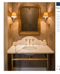 Example of brass vanity legs from palmer.  nice backsplash.