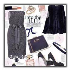 """""""Little Navy dress"""" by jckallan ❤ liked on Polyvore featuring Adrianna Papell, Ardent & Co, Jimmy Choo, Lanvin, Humble Chic, Kate Spade, Estée Lauder, Elie Saab, Industrie and Bloomingdale's"""
