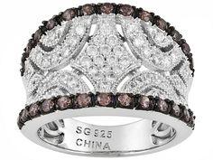 Bella Luce (R) 3.38ctw Round Mocha & White Diamond Simulant Rhodium Plated Sterling Silver Ring
