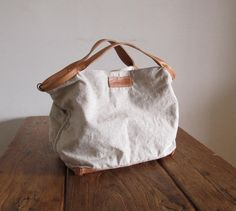 Hand Stitched Simple Linen Combo Leather Large Tote by asaborake