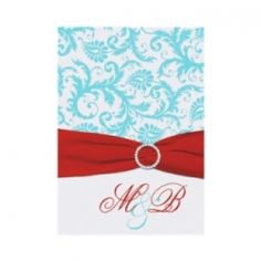 If you're planning an aqua and red wedding then you'll need to start off with finding some aqua and red wedding invitations to send to people....