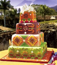 Mayan inspired wedding cake with lilies