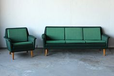 RESERVED for ARIEL  Mid Century Swedish Sofa & Chair Designed by Folke Ohlsson for Dux
