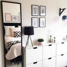 If you don& have a big bedroom, you can use shoe cabinets for storing things like dirty laundry, scarves and belts - - Bedroom Inspo, Bedroom Decor, Deco Studio, Big Bedrooms, My New Room, Storage Spaces, Shelving, Sweet Home, Living Room