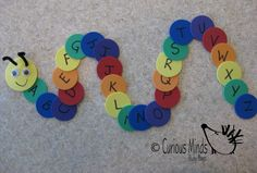 You get 26 foam circles with each letter of the alphabet on it (lowercase on one side and uppercase on the other side) and a caterpillar head. Kids complete the caterpillar by putting the letters in order. You could also use the letters to spell out words like their name!