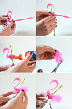DIY Flamingo Straws for a tropical pool party Flamingo Craft, Pink Flamingo Party, Flamingo Birthday, Pink Flamingos, 2nd Birthday, Birthday Parties, Luau Party, Diy Party, Party Ideas
