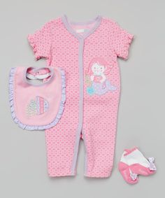 Another great find on #zulily! Pink Mermaid Playsuit Set - Infant #zulilyfinds