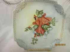 Red Bird Plate Dish Porcelain Ceramic Pottery by PorcelainChinaArt