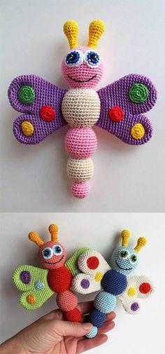 Butterfly Baby Rattle Free Crochet Pattern