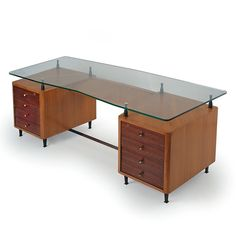 Gio Ponti and Alberto Rosselli; Wood, Crystal and Brass desk, 1950s.
