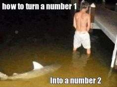 Dump A Day man peeing in water, shark swimming, funny captions - Dump A Day
