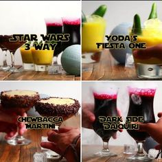 For those Star Wars fans 21 and older. If you've had too much jawa juice hand over the speeder keys to your designated flyer.  3 way Star Wars cocktails for all the Jedi's thanks to our friends at @weareshaken and @dorksideoftheforce  #jedi #starwars #drink #boozy #chewbacca #yoda #darkside #shaken #dorksideoftheforce