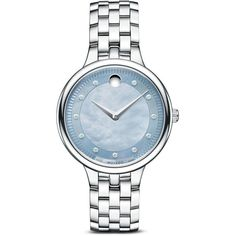 Movado Trevi Stainless Steel Watch with Blue Gray Mother of Pearl Dial... ($1,495) ❤ liked on Polyvore featuring jewelry, watches, diamond watches, movado wrist watch, diamond jewelry, wristwatches e pandora jewelry