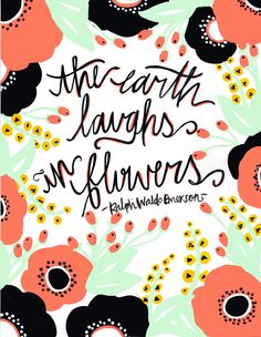 // The Earth Laughs In Flowers - Illustration Art Print - 8 x 10. $15.00, via Etsy.