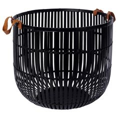 IKEA - HURRING, Basket, bamboo black, Storing your belongings in baskets makes it easier to be organized and find what you're looking for. Ikea Basket, Bamboo Basket, Wall Basket, Rattan, Wicker, Leather Rivets, Black Bamboo, Water Hyacinth, Diy Coffee Table