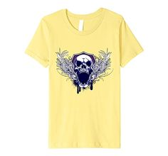 Amazon.com: Scary Evil Devil Skull With Wings Detail Graphic Design Tee: Clothing