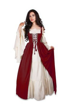 Renaissance Medieval Irish Costume Over Dress & Cream Chemise Set Renaissance Costume Irish Dress and Chemise Medieval Dress Renaissance Faire Wench Pirate Costume Renaissance, Renaissance Clothing, Medieval Fashion, Easy Renaissance Costume, Medieval Peasant Clothing, Medieval Outfits, Renaissance Corset, Irish Clothing, Moda Medieval