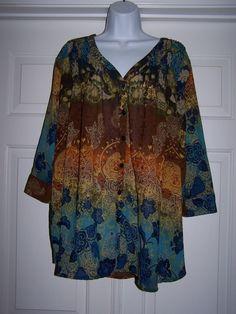 Denim 24/7 Women's Blouse 22W Floral 3/4 Sleeve Multi-Color 100% Polyester #Denim247 #Blouse #Career