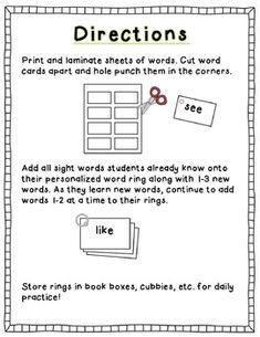 Kindergarten Sight Word Rings (free)