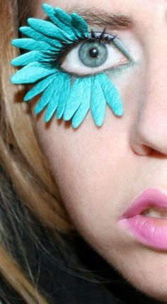Wild Bright Turquoise Blue Flower Petal False Lashes. This would be fun for some kind of costume