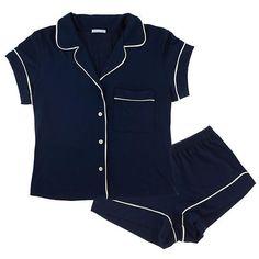 Eberjey Gisele Short PJ Set ($102) ❤ liked on Polyvore featuring intimates, sleepwear, pajamas, lingerie, pijamas, underwear, short pajama set, eberjey sleepwear, lingerie pajamas and short pajamas