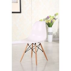 Retro Eames Style Molded Plastic Wood Eiffel Legs Side Chair (Set of 4) - 17857691 - Overstock.com Shopping - Great Deals on Dining Chairs