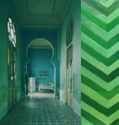 green decor + moroccan and fishbone pattern