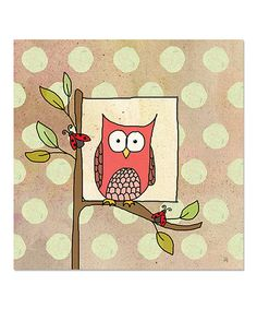 Take a look at this Pink Owl & Ladybug Canvas Art on zulily today!