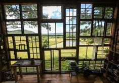 Glass Cabin from Recycled Old Wood Windows Recycled Door, Recycled Windows, Recycled House, Glass Cabin, Glass House, Old Wood Windows, Reclaimed Windows, Vintage Windows, Building A Cabin