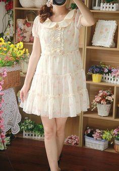 Kawaii Cute Sweet Dolly Lolita Elegance Princess Slim Floral Chiffon Dress Pink