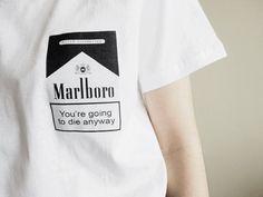 YOU GOING TO DIE ANYWAY CIGARETTES PRINT T-SHIRT #marlboro #smoke #smoking #cigarettes #cigarette #cigare #print #meme #lol #kek #funny #hilarious  #crying #tears #kawaii #cute #tumblr #cyber #print #tshirt #itgirlshop #itgirlclothing #printtee #printtshirt #tee #top #cotton #white #oneck