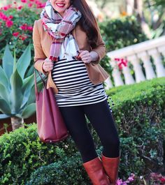 StylishPetite.com | striped ruched tunic top, J.Crew camel schoolboy blazer, reversible vegan leather tote, cognac leather boots, plaid scarf, maternity style, pregnant outfit, fall fashion, petite pregnancy clothes, black leggings with brown boots, target maternity #bumpstyle