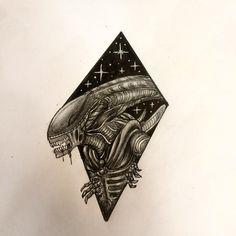 """50 Likes, 1 Comments - Marcelo Menares (@marcelomenares) on Instagram: """"En el espacio no sólo hay cosas lindas diseño disponible#alien #alientattoo #flashtattoo #tattoo…"""""""