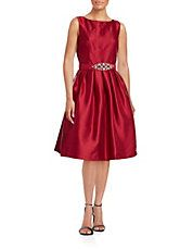Sleeveless Tea Dress with Jewelled Belt