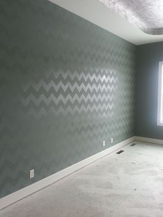 The best way to do a chevron wall I've ever seen. base paint the walls in a HIGH GLOSS BASE COLOR first. Then we would still use the chevron stencil with flat paint in the same color. Skip the clear coat. My New Room, My Room, Spare Room, Chevron Stencil, Chevron Walls, Paint Chevron, Damask Stencil, My Dream Home, Home Projects