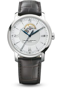 Discover the Classima 8688 steel and leather watch for men with automatic movement, designed by Baume et Mercier, Swiss Watch Maker.