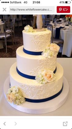 Lovely navy ribbon and detailed icing. Fresh Flower Cake, Wedding Cakes With Flowers, Fresh Flowers, Top Recipes, Cake Servings, Buttercream Wedding Cake, Wedding Pictures, Bride Groom, Cupcake Cakes