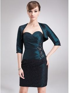 Sheath/Column Sweetheart Short/Mini Taffeta Lace Mother of the Bride Dress With Ruffle Beading Sequins