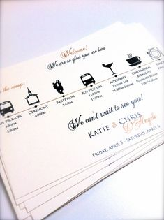 Wedding Itinerary Cards by JaxDesigns27 on Etsy