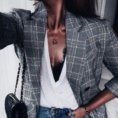 Plaid blazer + lace bralette.