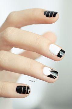 Nail art inspired Alexander Wang #whitenails #blacknails #stripes - bellashoot.com