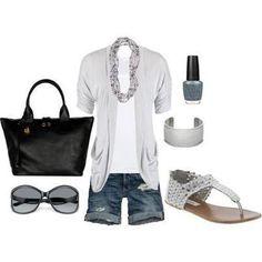 gray shorts white black purse