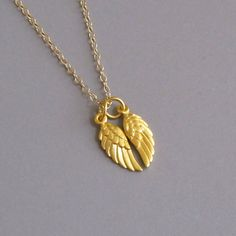 djs Tiny Gold Angel Bird Wings Charm 14k Gold Filled Chain Necklace Sundance