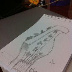 Desenho 2 de 365: Perspectiva lateral do braço da guitarra.