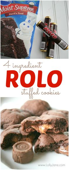 Rolo Cookies recipe for crazy chocolate caramel cookies filled with Rolos. Only 4 ingredients are required to make this delicious dessert! Rolo Cookies, Cake Mix Cookies, Yummy Cookies, Cookies Et Biscuits, Chip Cookies, Rolo Cupcakes, Super Cookies, Cheese Cookies, Baking Cookies