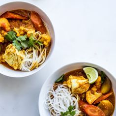 Weeknight Red Curry Recipe, skip the noodles completely or sub true soba noodles or zucchini noodles for a healthier option. If veggie, skip the white fish. Quick and fabulous