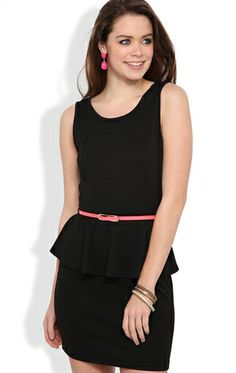 Deb Shops Peplum Dress with Texture Knit and Coral Belted Waist $26.17