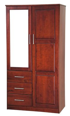 Derlyum Mirrored Wardrobe Armoire Wood Bed Design, Room Door Design, Furniture Design, Woodworking Furniture, Woodworking Plans, Woodworking Projects, Wardrobe Internal Design, Wooden Almirah, Armoire Dresser