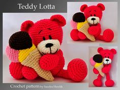 crochet pattern amigurumi     teddy teddybear door MOTLEYCROCHETCREW