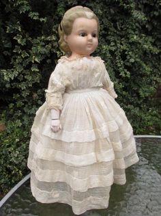 """Lovely Antique German Wax Over Papier Mache Pumpkin Head Doll c 1860 - 16"""""""